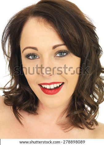 Head and Shoulders Portrait of a Beautiful Caucasian Woman In Her Twenties Looking At THe Camera - stock photo