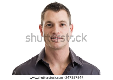 Head and shoulders portrait of a mid 30s casual businessman isolated on a white background - stock photo