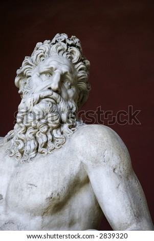 Head and shoulders shot of the River Tiber sculpture in the Vatican Museum, Rome, Italy. - stock photo