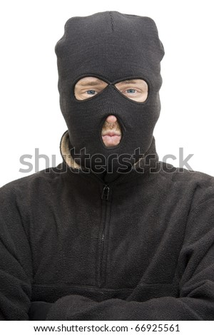 Head And Upper Body Portrait Of An Isolated Burglar Wearing A Burglar Balaclava - stock photo