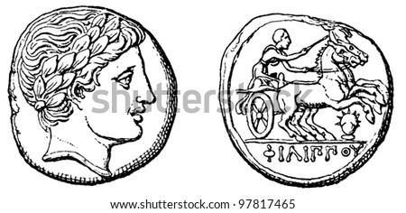 """Head Apollo, victorious chariot, gold stater of Philip 2 of Macedon - an illustration to articke """"Coins"""" of the encyclopedia publishers Education, St. Petersburg, Russian Empire, 1896 - stock photo"""