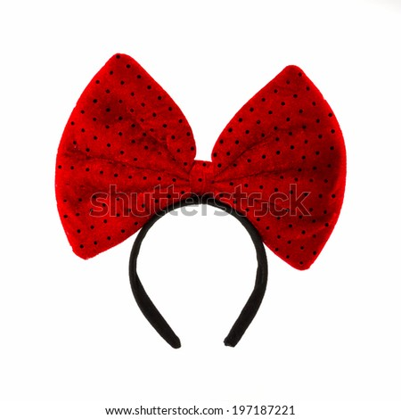 Head Bands with red bow isolated on white background. - stock photo