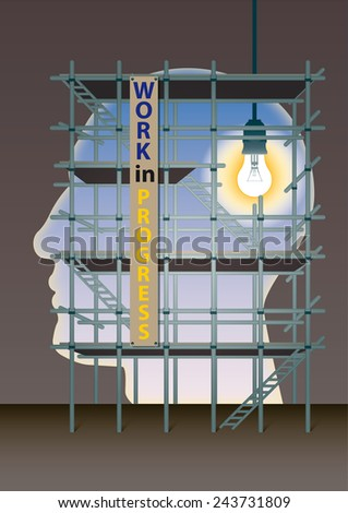 head behind a scaffolding with a light on the brain - stock photo