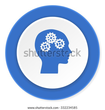 head blue circle 3d modern design flat icon on white background