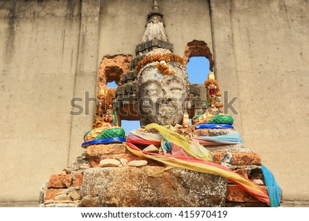head buddha,Sinking temple  at Sangkhla Buri District, Kanchanaburi province, Thailand.