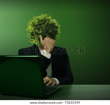 Head Business Trees with laptop - stock photo
