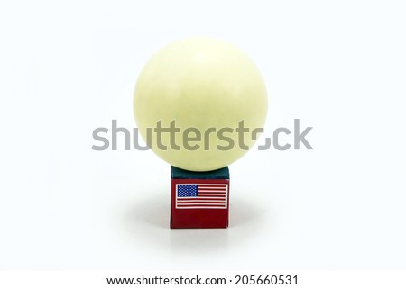 Head Cue with Chalk and Pool Snooker white ball - stock photo