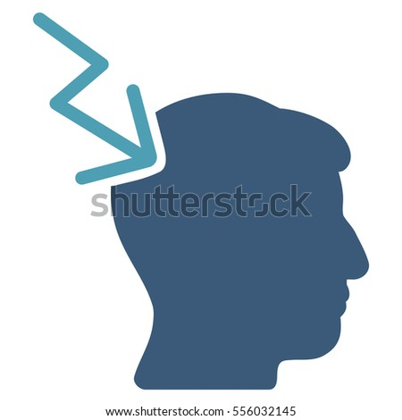 Head Electric Strike glyph pictogram. Style is flat graphic bicolor symbol, cyan and blue colors, white background.