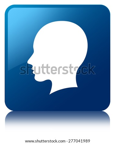 Head (female face) icon blue square button