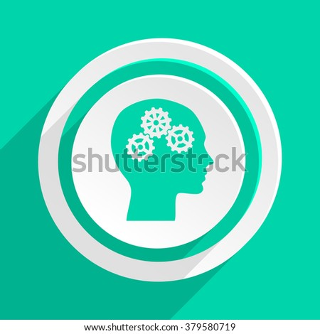 head flat design modern web icon with shadow for internet and app