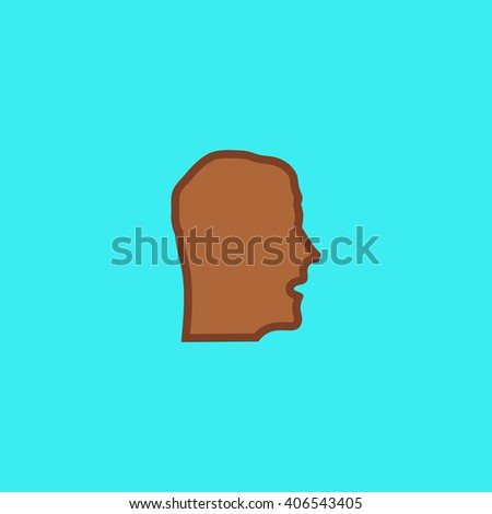 head Flat icon on color background. Simple colorful pictogram