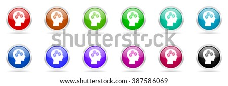 head glossy colorful web icons set