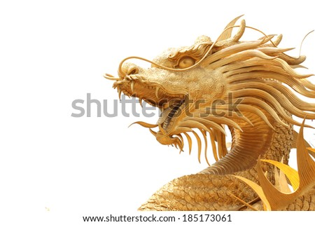 Head Golden dragon statue on white background.