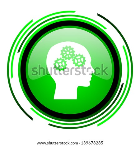 head green circle glossy icon  - stock photo