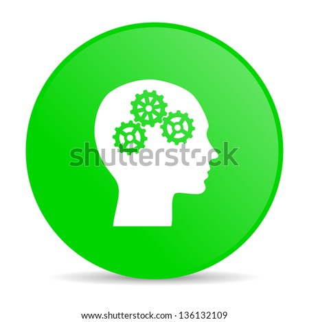 head green circle web glossy icon - stock photo