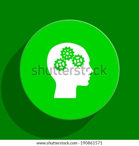 head green flat icon - stock photo