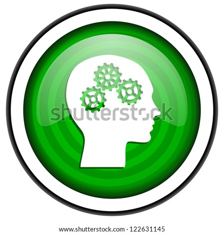 head green glossy icon isolated on white background - stock photo