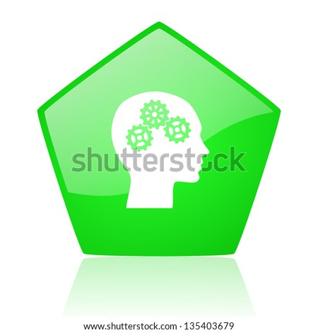 head green pentagon web glossy icon - stock photo