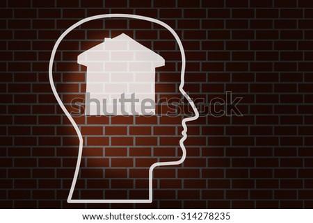 Head home on a brick wall - stock photo