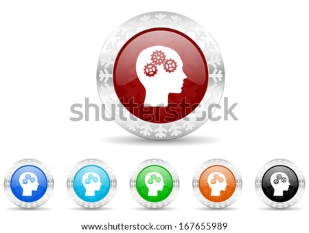 head icon christmas set - stock photo