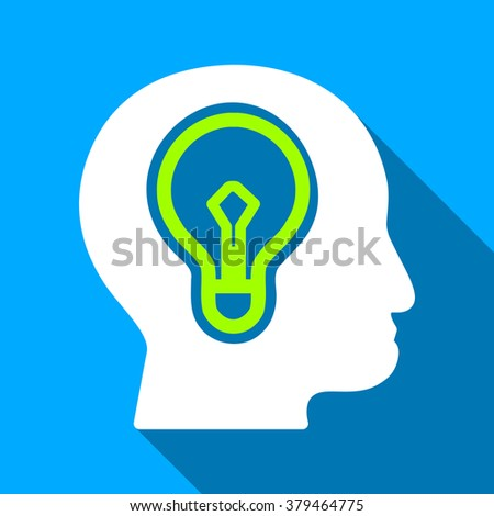 Head Idea Bulb long shadow raster icon. Style is a flat light symbol with rounded angles on a blue square background. - stock photo