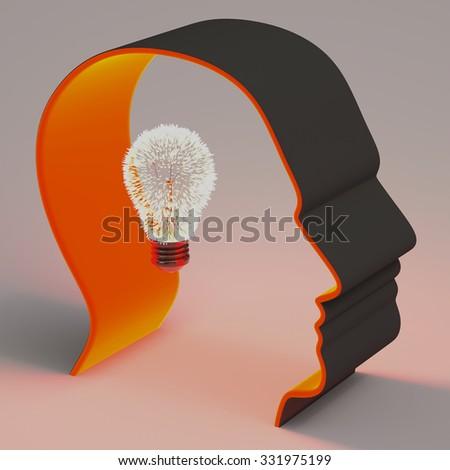head , idea , light bulb,3D - stock photo