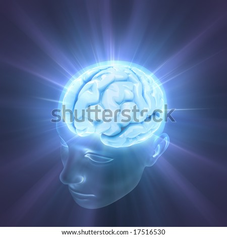 Head illuminated by the energy of the brain. Concept of thinking, the power of mind. - stock photo