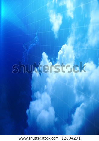 Head in clouds - stock photo