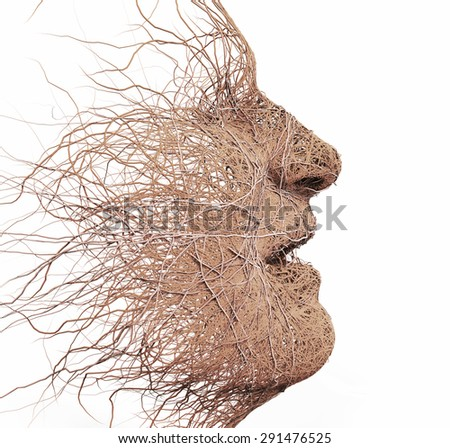 head made of branches - stock photo