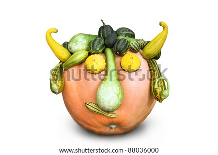 Head made of vegetables - pumpkin and zucchini, isolated - stock photo