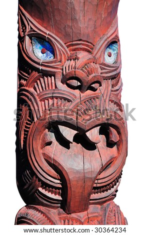 Head - Maori traditional sculpture. New Zealand - stock photo