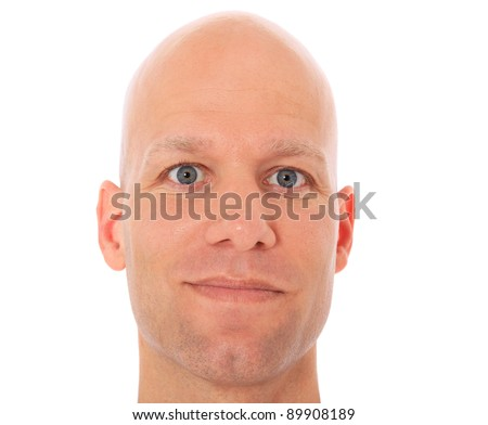 Head of a bald man. All on white background. - stock photo