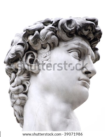 Head of a famous statue by Michelangelo - David from Florence, isolated on white with clipping path - stock photo