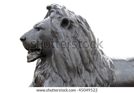 Head of a metal sculpture of a lion in Trafalgar Square isolated on white with clipping path - stock photo