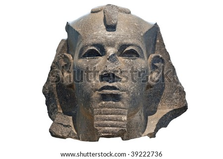 Head of a pharaoh in black stone isolated on white - stock photo