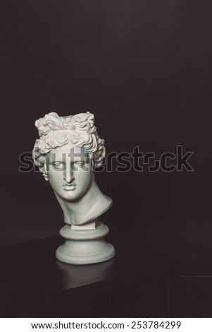 head of Apollo head of a Greek statue on the table - stock photo