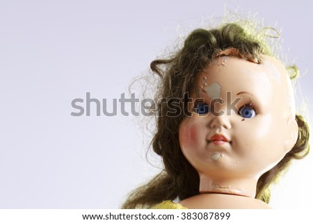 head of beatiful scary doll like from horror movie - evil face, grunge, macro