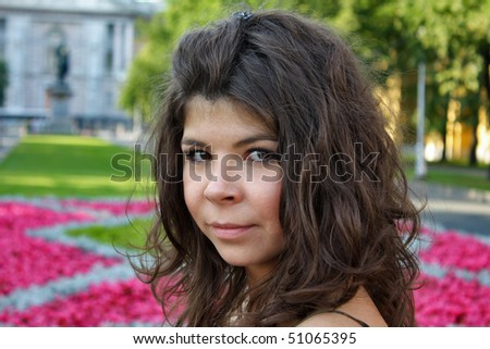 head of beautiful woman in summer - stock photo