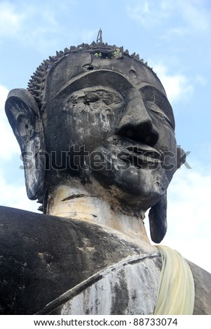 Head of big stone Buddha in Sienghuang, Laos