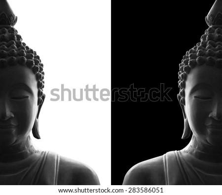 head of buddha on white and black background - stock photo