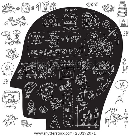 Head of business icons and doodles Black and white raster illustration about business with doodles set of icons and human head. - stock photo
