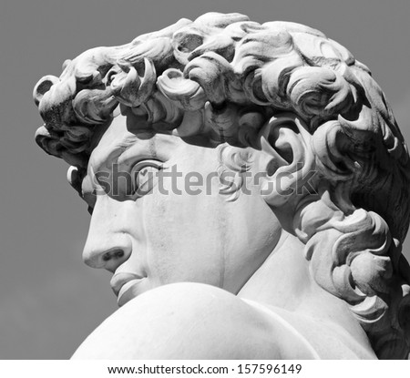head of David sculpture by  Michelangelo, Florence, Tuscany, Italy, Europe - stock photo