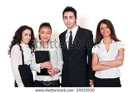 Head of department and its young employees, isolated on a white background
