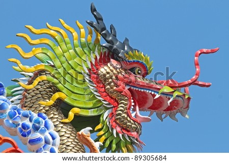 Head of dragon statue with blue sky