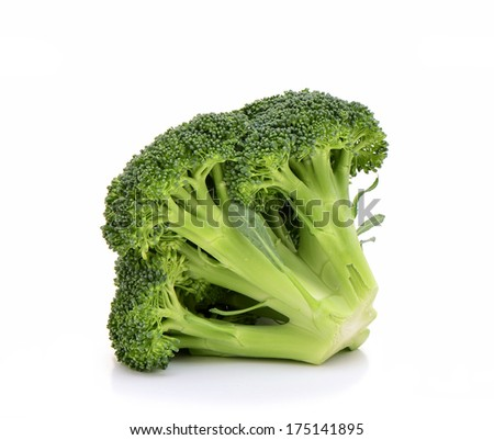 Head of fresh organic broccoli on white background