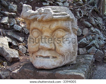Head of Maya. Copan ruins (UNESCO World Heritage site). Honduras. - stock photo