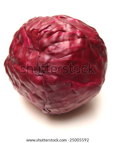 Head of red cabbage isolated on white