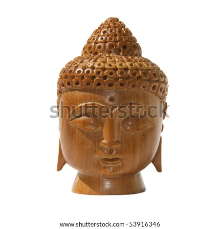 Head of the Buddha  wooden cut out figurine - stock photo