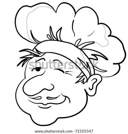 Head of the cook - chef in a cap, funny character, contour