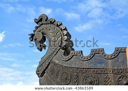 head of the horse on ship - stock photo